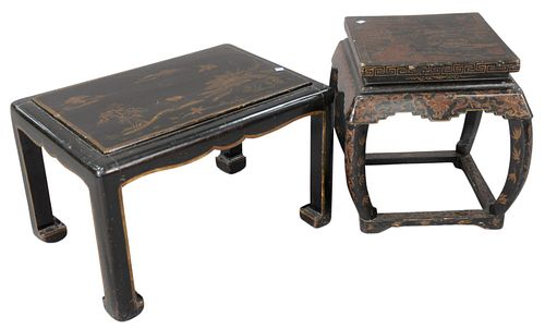 """Two Black Lacquered Chinoiserie Stands, one rectangular with gilt flowers and landscape scene, height 16 inches, top 17 1/2"""" x 25""""; along with a squar"""