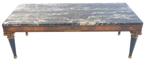 """Continental Style Coffee Table, with gray marble top, height 17 inches, top 21"""" x 50"""". Provenance: Matthes-Theriault Collection, Woodbridge, Connectic"""