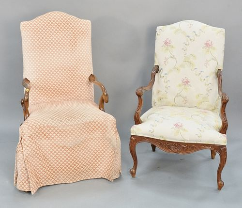 Two Continental Style Occasional Chairs, height 46 1/2 and 49 inches.