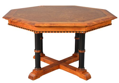 David Linley Octagon Hall Table, with inlays of burr ash, and ebony frieze with diamonds, all supported by ebonized columns, set on plain base, new co