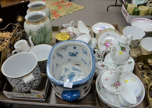 Large Group Lot of Porcelain, to include 2 Limoges Posthaulb porcelain, partial sets; Meissen plate; Minton; Thomas fruit plate; along with a Dresden