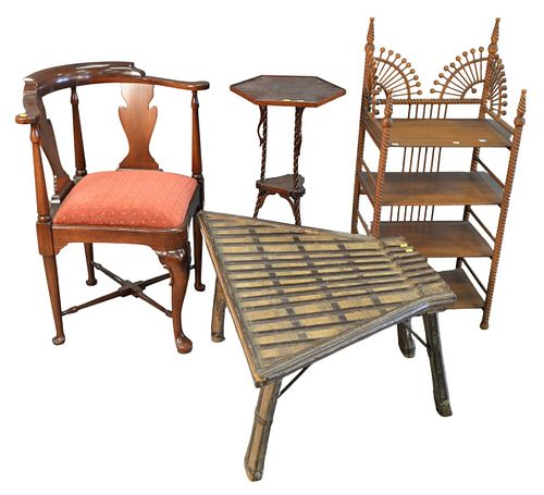 Seven Piece Lot, to include stick and ball shelf; 3 chairs; stands; along with a table, etc.
