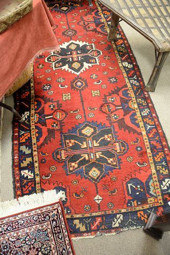 """Three Oriental Throw Rugs, 2' 4"""" x 4' 8""""; 3' 6"""" x 8' 9""""; 3' 2"""" x 4' 3"""". Provenance: From the Robert Circiello Collection, West Hartford, Connecticut."""