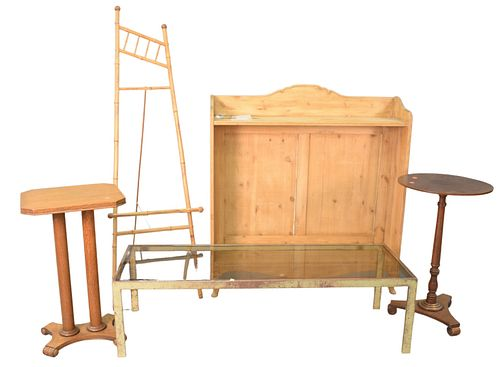 Eight Piece Lot, to include pine bookcase, height 48 inches; oak pedestal; glass top coffee table; bamboo easel; a brass mirror, along with pair of ta