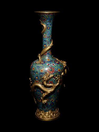 A Gilt Bronze and Cloisonné Enamel 'Dragon' Vase