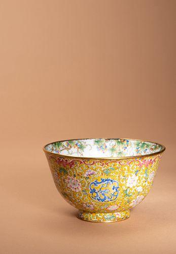 A Canton Enamel on Copper Bowl