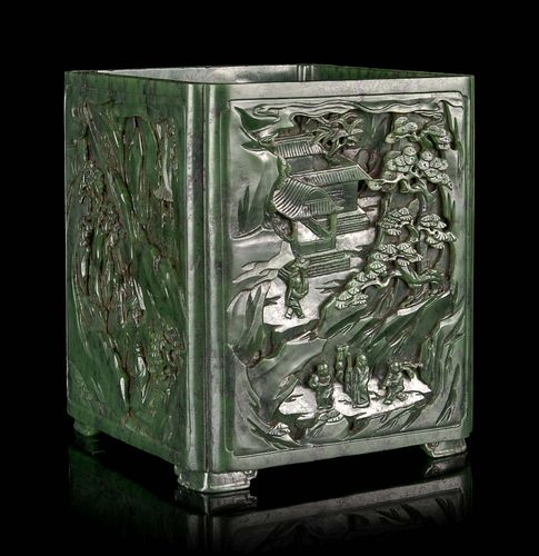 A Carved Spinach Jade 'Landscape'Square Brush Pot