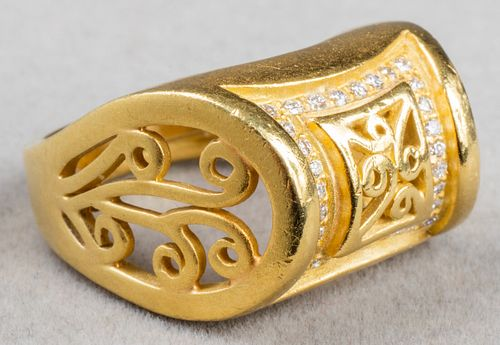 B. Kieselstein-Cord 18K Yellow Gold & Diamond Ring