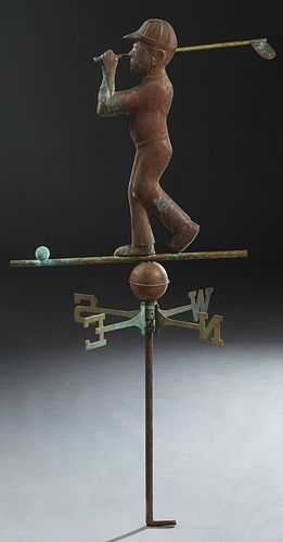 Copper and Brass Weathervane, mid 20th c., in the form of a golfer, atop directional markers, H.- 52 in., W.- 23 1/2 in., D.- 19 in.