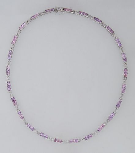 18K White Gold Link Necklace, each of the 25 links with three round pink sapphires joined by diamond mounted infinity links, total sapphire wt.- 15.6