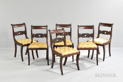 Set of Six Classical Carved Mahogany Chairs,probably New York, c. 1820