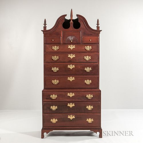 Carved Cherry Chest-on-chest,Connecticut, late 18th century