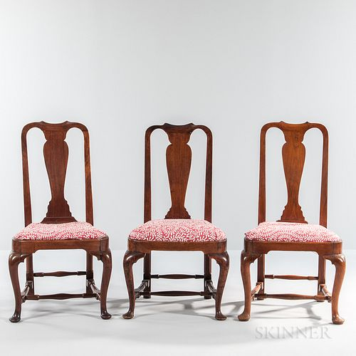 Assembled Set of Three Queen Anne Chairs,Massachusetts, c. 1740-60