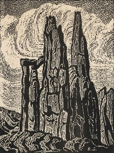 BIRGER SANDZEN (1871-1954) PENCIL SIGNED BLOCK PRINT