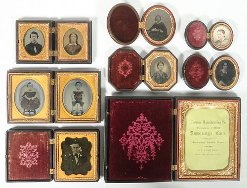 (8) 19TH C. GUTTA PERCHA PHOTOGRAPH CASES, SOME WITH AMBROTYPES & TINTYPES
