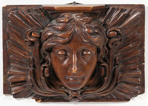BELLE EPOCH CARVED PORTRAIT PANEL OF CLASSICAL DIETY