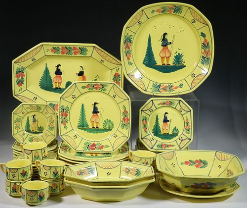 (45 PCS) FRENCH QUIMPER SOLEIL YELLOW FAIENCE