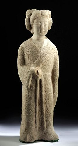 Chinese Tang Dynasty Stone Sculpture of Woman
