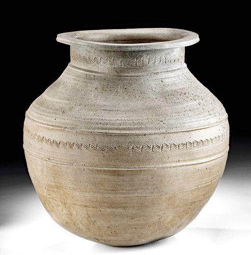 5th C. Korean Silla Stoneware Jar Incised Motifs