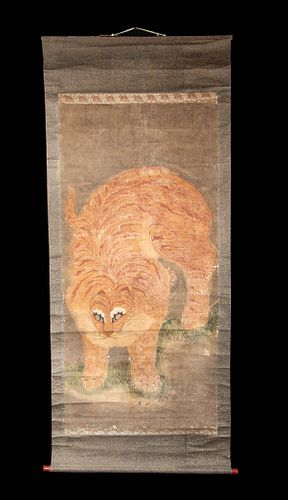 Early 20th C. Korean Scroll Painting w/ Tiger