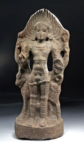 14th C. Indian Tamil Nadu Temple Figure Bhairava + Dog