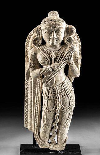 10th C. Indian Stone Statue Saraswati Playing Lute