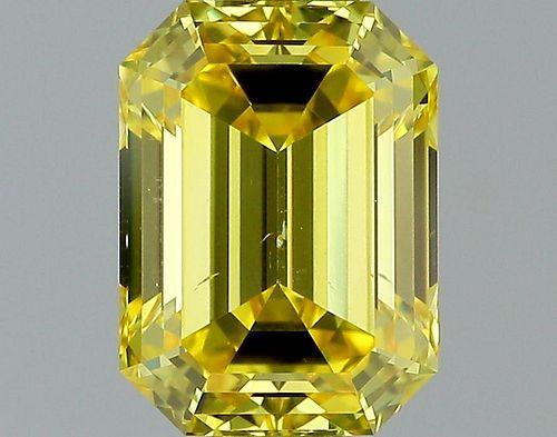 1.02 ct., Fancy Vivid Yellow/VS2, Emerald cut diamond, unmounted, PP7082