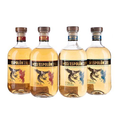 Tequilas. a) Espolón el colorado. b) Espolón el marañon. 100% agave. Total de piezas: 4.