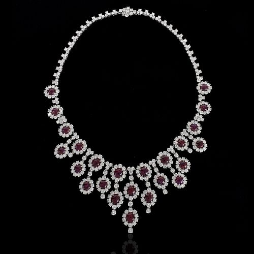Ruby, Diamond and Platinum Necklace