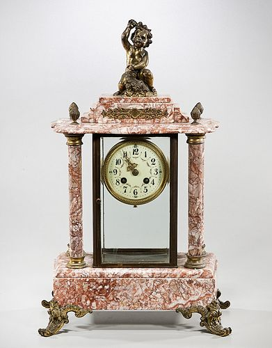 Metal and Red Marble Mantel Clock