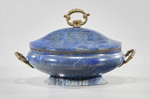 Vintage Lapis Lazuli Covered Dish