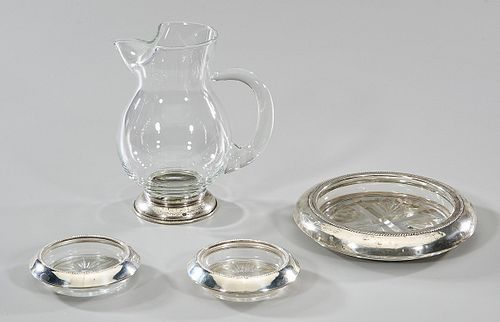 Group of Four Sterling and Glass Articles