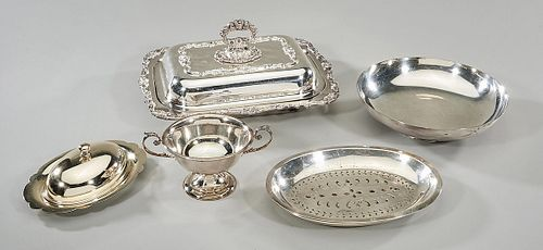 Group of Five Various Silver Plate Service Items