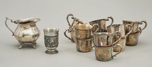 Large Group of Silver Plate and Pewter Items