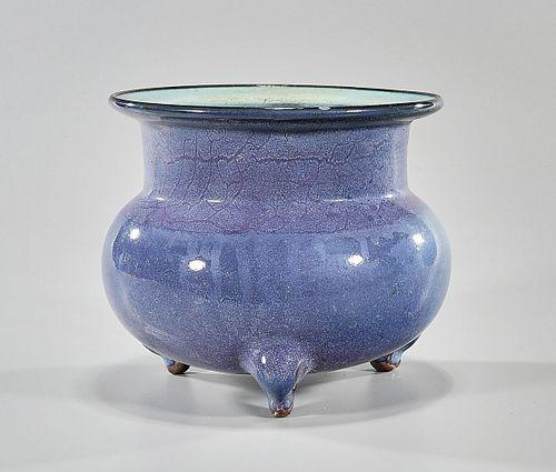 Chinese Flambe Glazed Porcelain Tripod Censer