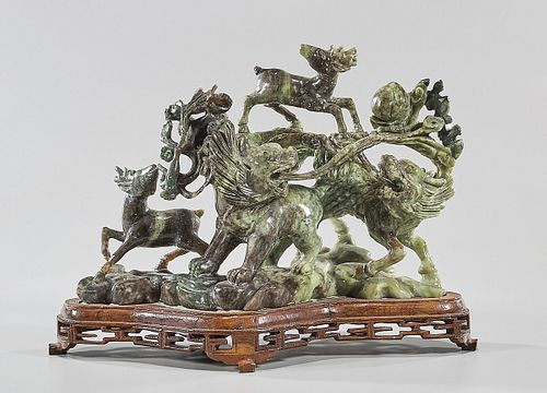 Chinese Carved 'Honan' Jade Qilin