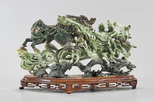 Chinese Carved 'Honan' Jade Group