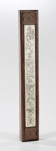 Chinese Wood and Silver Scroll Weight