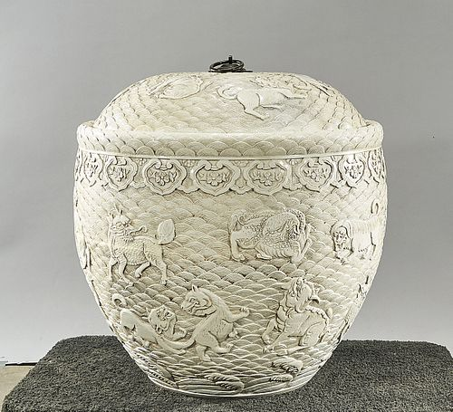 Large Chinese White Glazed Porcelain Covered Container