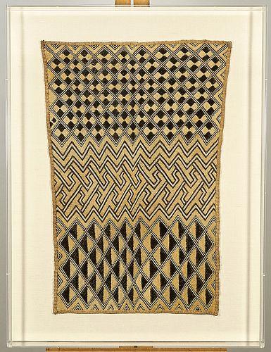 Framed African Kuba Textile