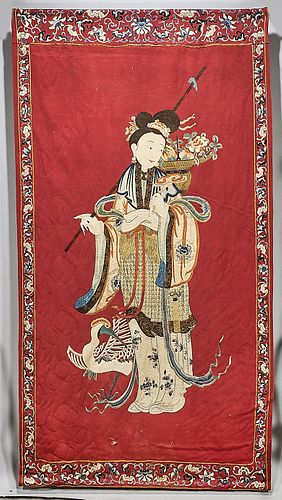 Antique Hanging Chinese Embroidered Tapestry