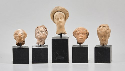 Group of Five Greek Ceramic Heads on Bases
