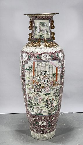 Massive Chinese Enameled Porcelain Floor Vase
