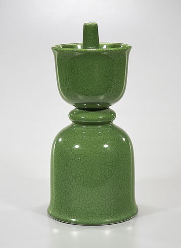 Chinese Green Glazed Porcelain Candlestick
