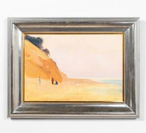 PAUL RESIKA, BEACH SCENE, FRAMED OIL, 1982