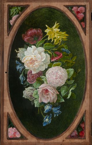 DAVY FIVEASH, Flowers on a Reclaimed Studio Cabinet Door