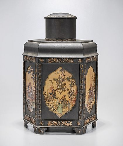 Chinese Covered Hexagonal Metal Container
