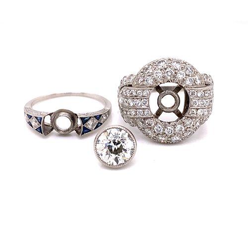 Unique 2 in 1 Detachable Stone Platinum Diamond Sapphire Ring
