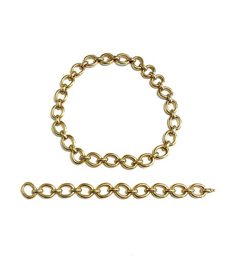 CARTIER 18k Set Chain Bracelet & Necklace