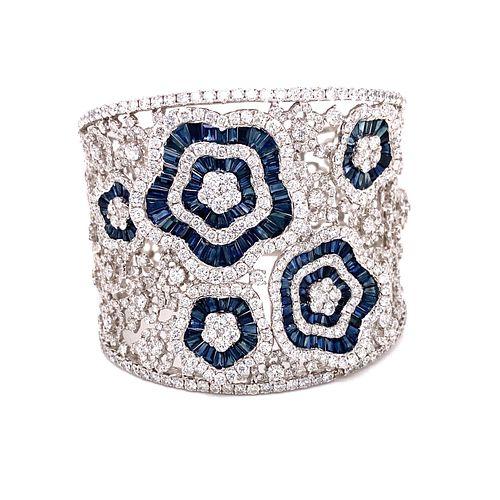 18K Sapphire Diamond Flower Bracelet